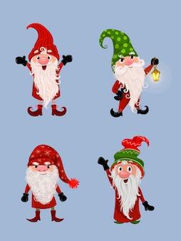수염을 가진 새해 격언 산타 휴일 격언