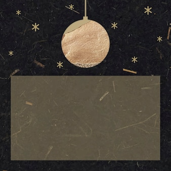 New year gold ball and shimmering star lights with rectangle shape on black mulberry paper background