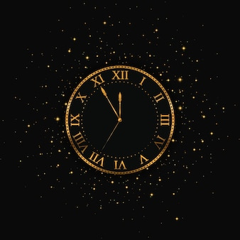New year gold clock. merry christmas.