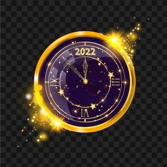 新年の金の時計のベクトル図冬の休日のお祝いクリスマスカウントダウンの概念