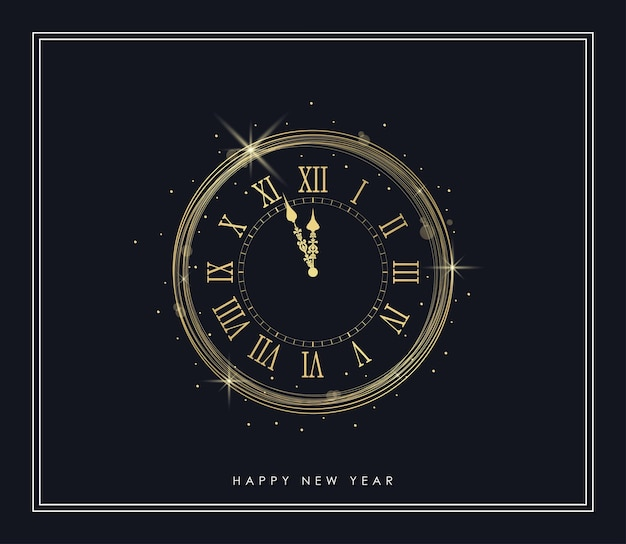New year gold clock with shiny lights and golden sparkles frame