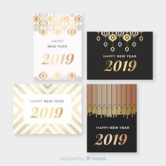 Pacchetto di carte di decorazione dorata di capodanno