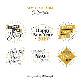 New year golden details badge collection