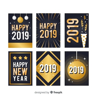 New year golden elements cards pack