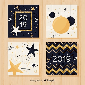 New year golden glitter cards pack