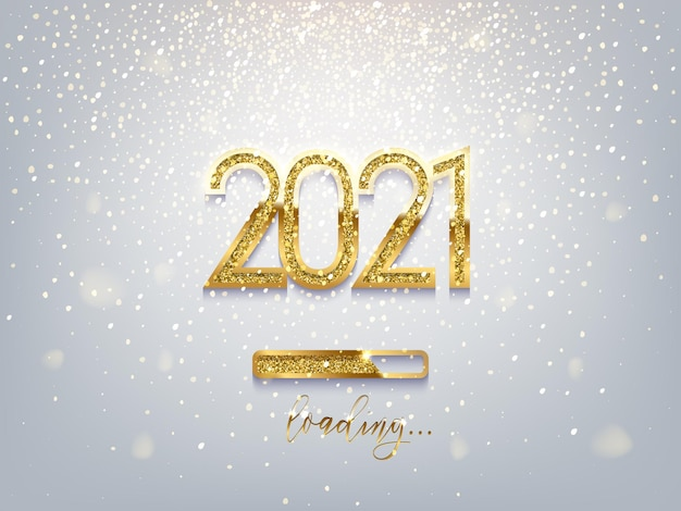 Новогодняя золотая полоса загрузки и числа 2021 года