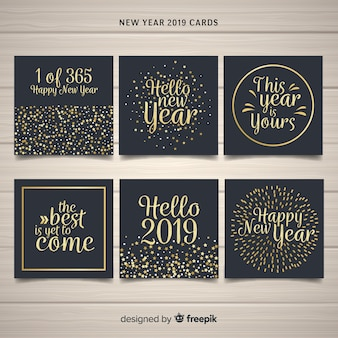 New year golden text cards pack