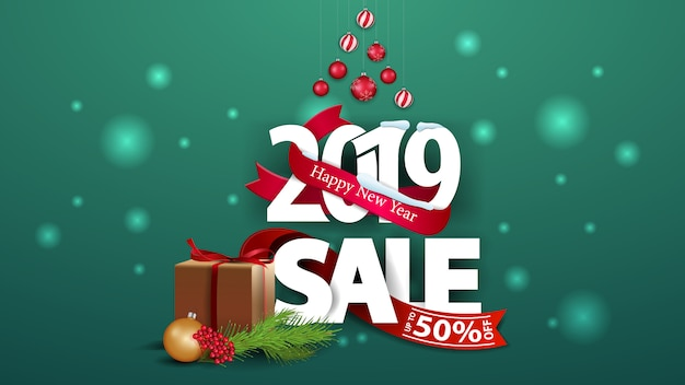 New year green discount banner with large numbers 2019 and gifts