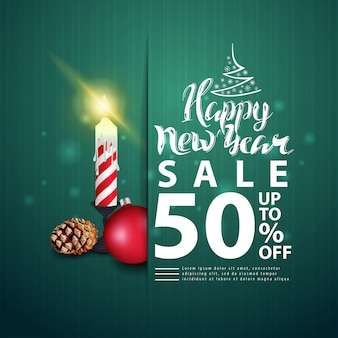 New year green discount banner with modern lettering and christmas candle