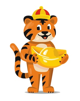 New year greeting card 2022 and fun tiger animal cartoon character