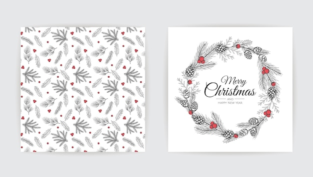 New year greeting card design with christmas tree.