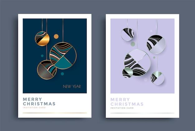 Дизайн новогодней открытки со стилизованными елочными шарами геометрические композиции рождественское украшение