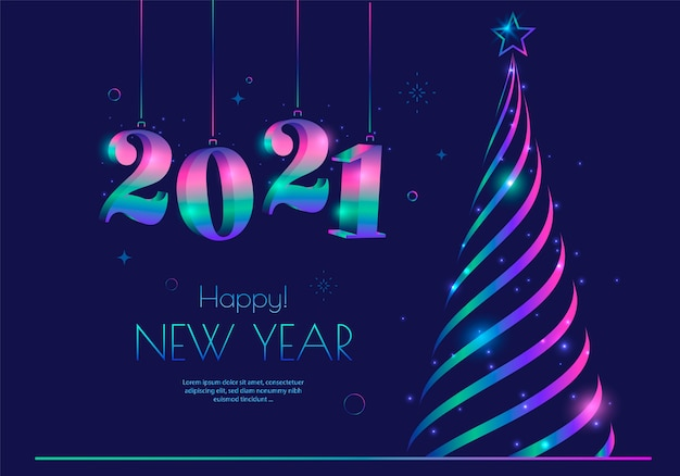 New year greeting card design with stylized christmas tree and 2021 numbers typography.