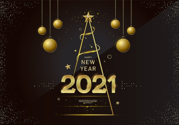 Дизайн новогодней открытки со стилизованной елкой, шаром и украшениями.