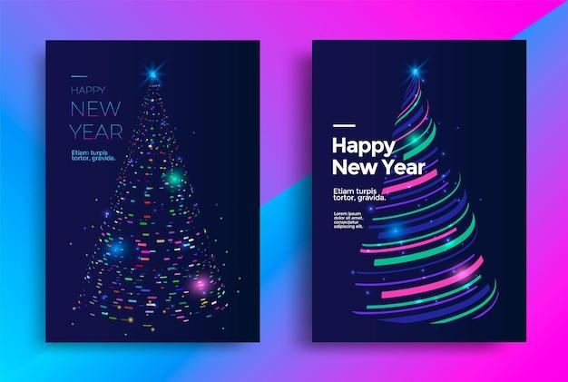 Дизайн новогодней открытки со стилизованной рождественской елкой. векторная иллюстрация