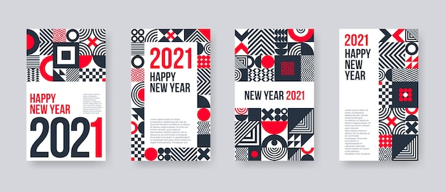 New year greeting card set. poster set with geometric shapes and pattern.