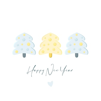 크리스마스 트리와 함께 새 해 인사 카드 새해 복 많이 받으세요 메리 크리스마스