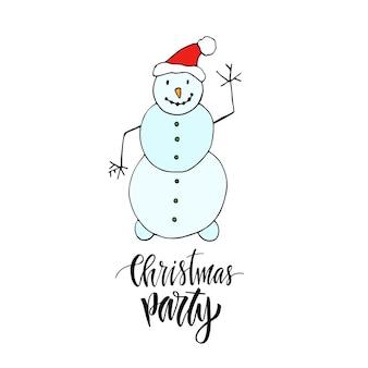 눈사람 춤 새 해 인사 카드입니다. 현대 서예와 크리스마스 파티 인사말 카드