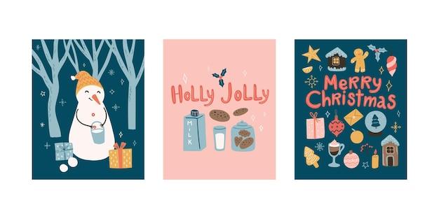 Новогодние поздравительные открытки каракули мультяшный набор со снеговиком и рождественскими украшениями и надписями