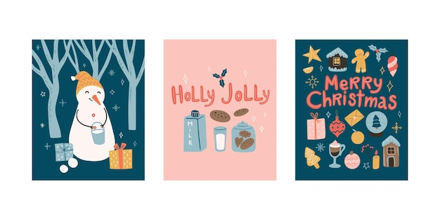 New year greeting cards doodle cartoon set with snowman and christmas decoration and lettering