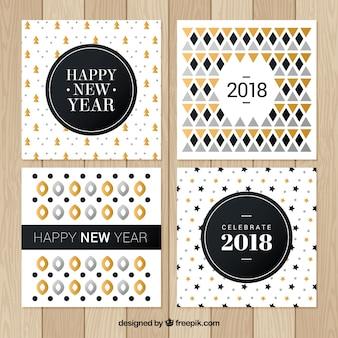 幾何学模様の新年のグリーティングカード