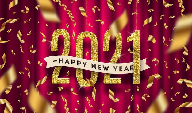 Новогоднее поздравление иллюстрации. золотые числа и конфетти на красном фоне занавеса.