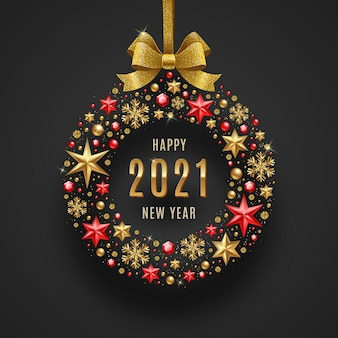 New year  greeting illustration. golden bowknot and abstract bauble composed from holiday decor