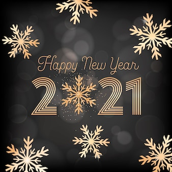New year greeting postcard, invitation or promo design, happy new year card with gold snow flakes and glitter on black blurred background with golden 2021 typography poster. vector illustration