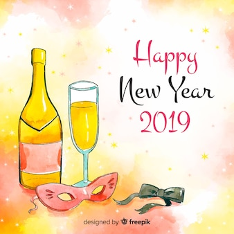 New year hand drawn party elements background