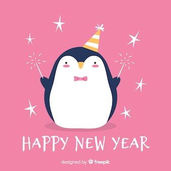 New year hand drawn penguin background