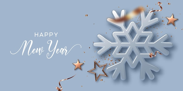 New year holiday banner with 3d glossy snowflake and golden stars. new year background. vector illustration.