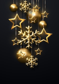 New year holiday decoration of golden snowflakes with christmas balls and stars on black background
