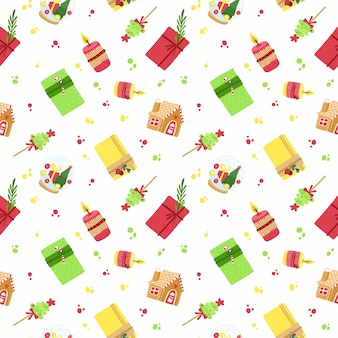 New year holiday, fest seamless pattern.