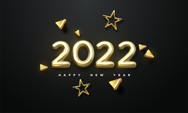 New year holiday illustration of golden metallic numbers 2022 and 3d gold shapes