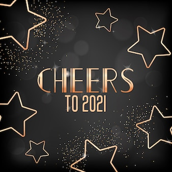 New year holiday season festive golden design on black blurred background, happy new year or merry christmas greeting card with gold stars, glitter and cheers to 2021 typography. vector illustration