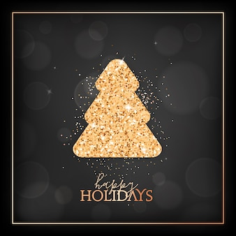 New year holiday season, merry christmas card with gold glittering fir tree and happy holidays typography. festive design with spruce on black blurred background with golden frame. vector illustration