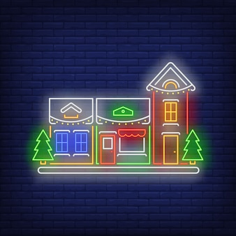 New year house in neon style