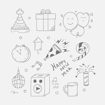 New year icon in doodle style