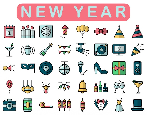 New year icons set, lineal color style