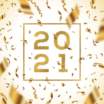 New year  illustration. glitter gold numbers of a year with frame and golden foil confetti.