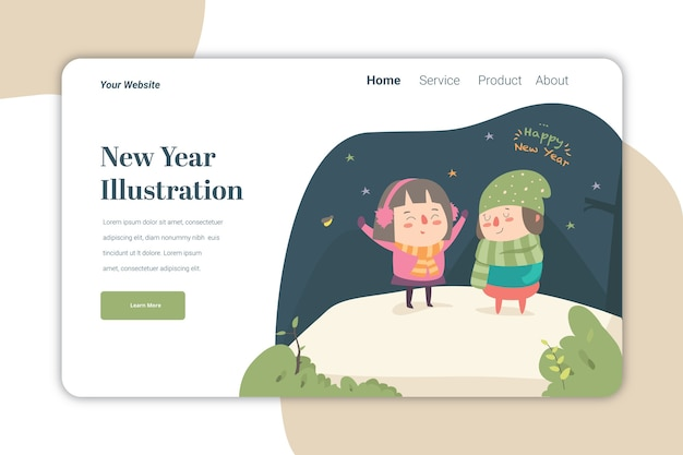 New year ilustration landing page   template cute caracter