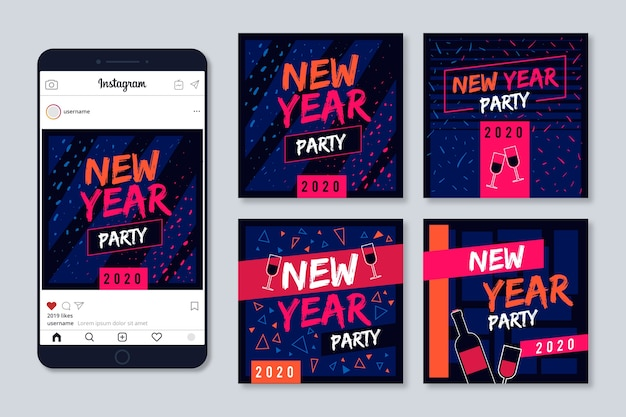 New year instagram post collection with cute confetti background