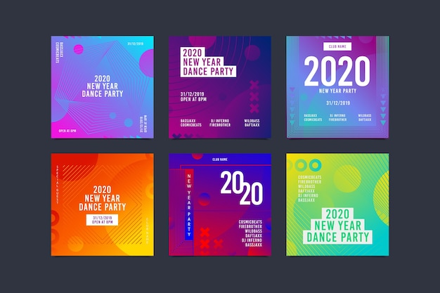 New year instagram post pack Free Vector