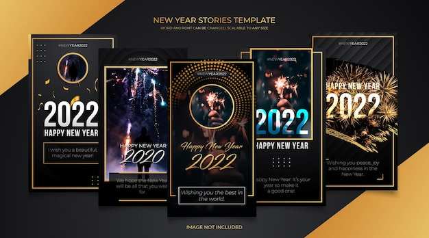 New year instagram stories template with black gold background