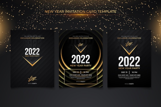 New year invitation card template with black gold background