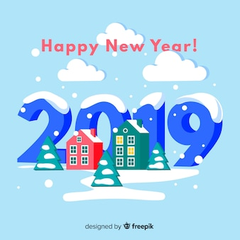 New year isometric houses background
