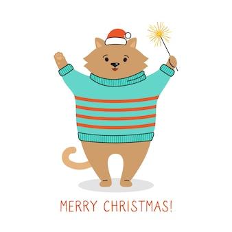 新年の子猫サンタクロースの帽子