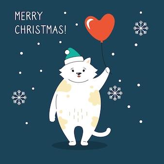 New year kitten santa claus hat