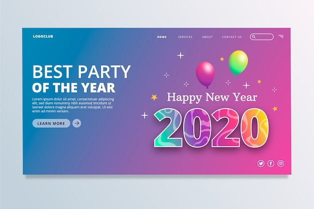 New year landing page in flat design