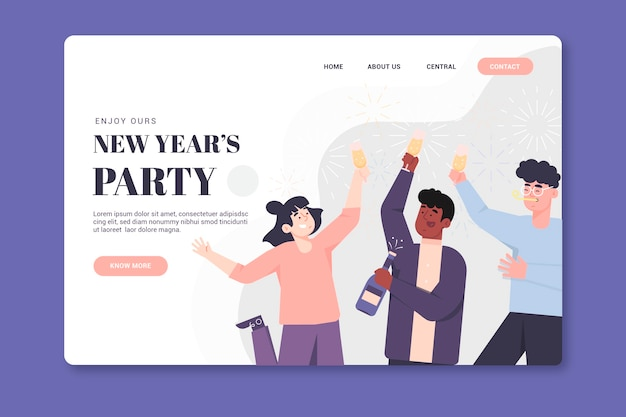 New year landing page template in flat design